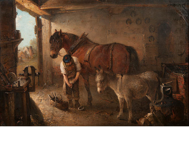 Edward Robert Smythe (British, 1810-1899) A farrier shoeing a plough horse, with a donkey, in a forge interior