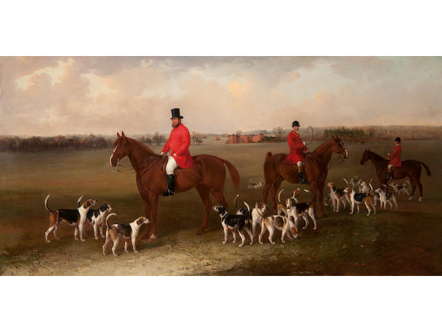 Edward Robert Smythe (British, 1810-1899) The Suffolk Hunt With Master John Josselyn Esq., whipper-in, huntsman and hounds before Euston Hall