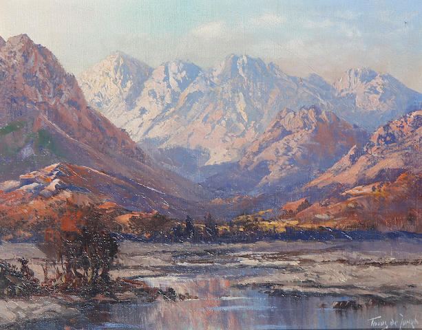 Marthinus (Tinus) Johannes de Jongh (South African, 1885-1942) Western Cape mountains, a pair (2)