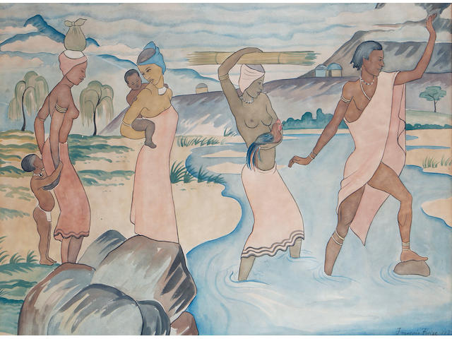 Francois Krige (South African, 1913-1994) Figures crossing a river