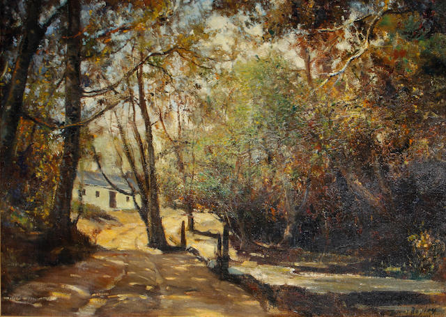 Errol Stephen Boyley (South African, 1918-2007) A sun-dappled lane with a cottage beyond