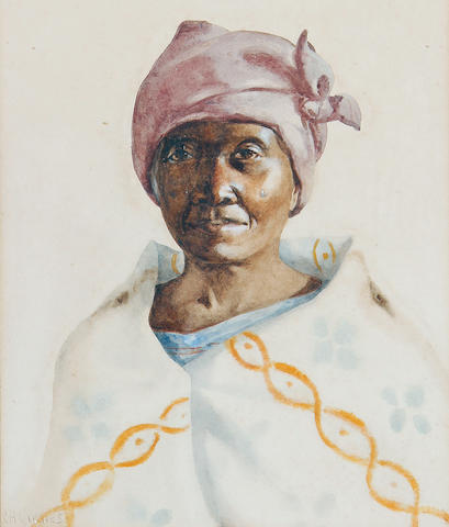 Constance Helen Greaves (South African, 1882-1966) Portrait of a Xhosa lady Together with a smaller watercolour portrait of a Xhosa girl by the same hand. (2)