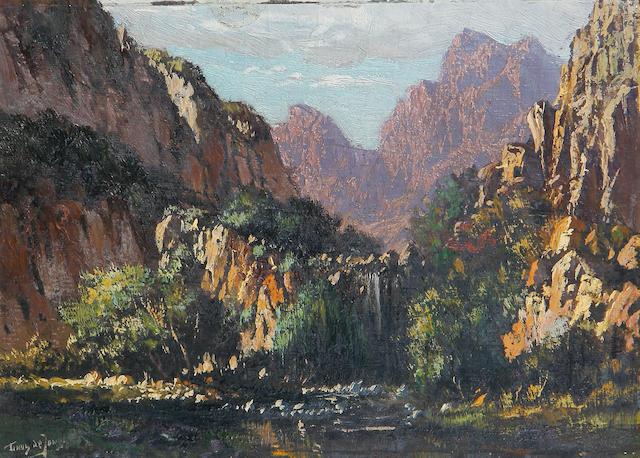 Marthinus (Tinus) Johannes de Jongh (South African, 1885-1942) A Cape landscape