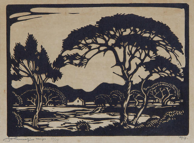 Jacob Hendrik Pierneef (South African, 1886-1957) Studies of trees, a set of two 13.5 x 18.5cm (5 1/4 x 7 5/16in) and 13 x 21cm (5 1/8 x 8 1/4in)(image size). (2)