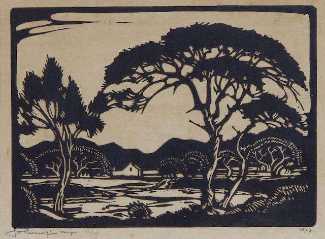 Jacob Hendrik Pierneef (South African, 1886-1957) Studies of trees, a set of two 13.5 x 18.5cm (5 1/4 x 7 5/16in) and 13 x 21cm (5 1/8 x 8 1/4in)(image size). (2)