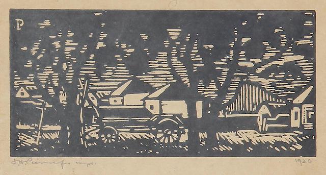 Jacob Hendrik Pierneef (South African, 1886-1957) Village scene 7 x 14.6cm (2 3/4 x 5 3/4in)(I).