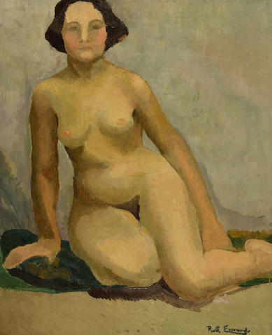 Ruth Everard Haden (South African, 1904-1992) Nude seated on a green cushion