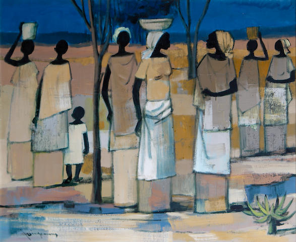 Johannes Wilhelmus (Jan) Dingemans (South African, 1921-2001) Female figures with a child before an open landscape