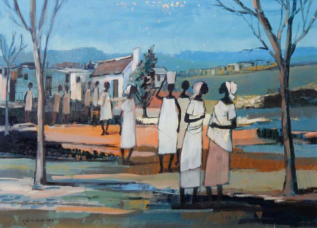 Johannes Wilhelmus (Jan) Dingemans (South African, 1921-2001) Figures before a village