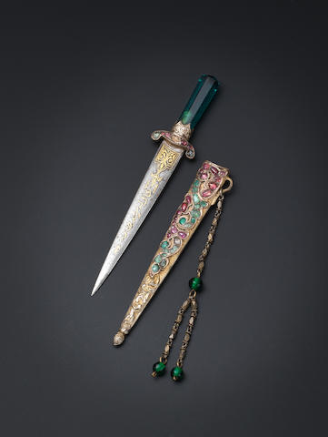 An Ottoman gem-set parcel-gilt miniature Dagger with the tughra of HIH Princess 'Adile Sultan (1825-1898) Turkey, 19th Century(3)