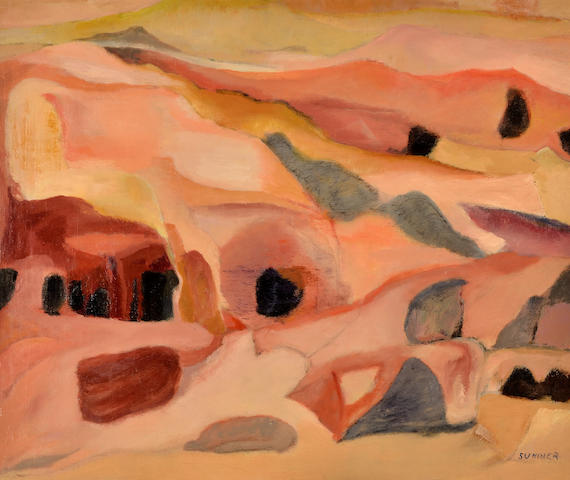 Maud Frances Eyston Sumner (South African, 1902-1985) Abstract landscape