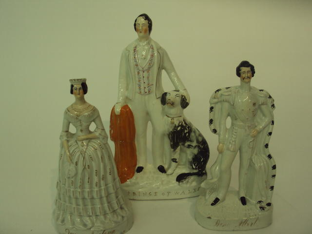 Three Staffordshire Royal figure groups, 19th century