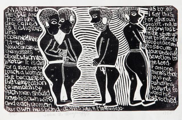 John Ndevasia Muafangejo (South African, 1943-1987) Married People 35.5 x 56.5cm (14 x 22 1/4in)(I).