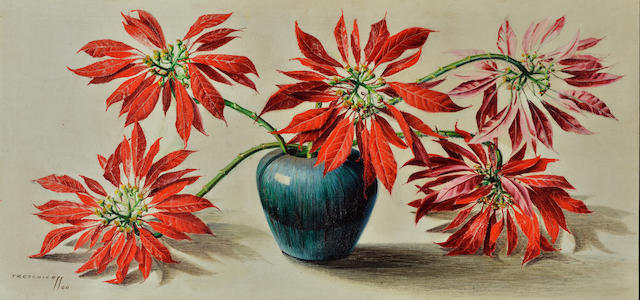 Vladimir Griegorovich Tretchikoff (South African, 1913-2006) Still life with poinsettias