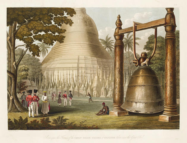 BURMA - RANGOON MOORE (JOSEPH) Scene Upon the Terrace of the Great Dagon Pagoda at Rangoon, Taken near the Great Bell, hand-coloured aquatint; and 3 others, 1826 (3)