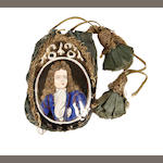 A late 17th century Limoges enamel and silk purse depicting Louis Grand Dauphin and his Consort