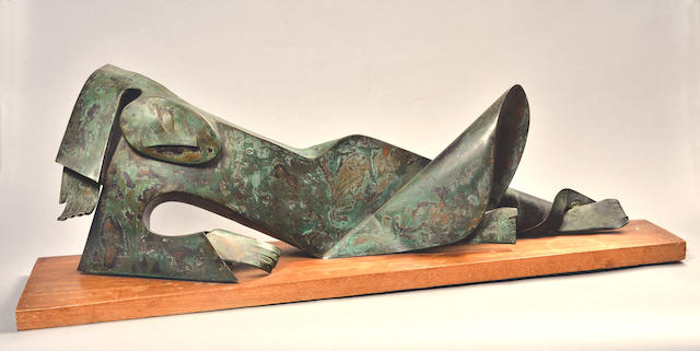 George Jaholkowski (Russian, 1914-1979) Reclining nude 30.5 x 94.5 x 23cm (12 x 37 1/4 x 9in) (including base)