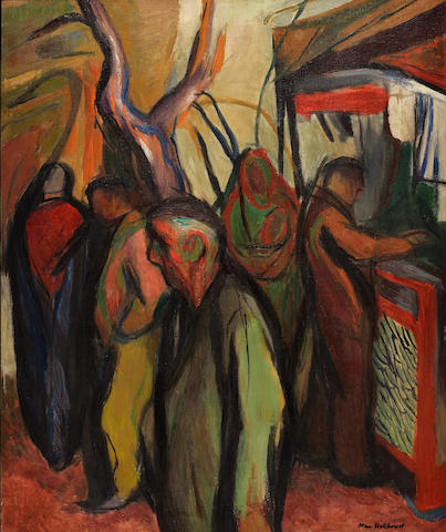 May (Mary Ellen) Hillhouse (South African, 1908-1989) Figures in the street