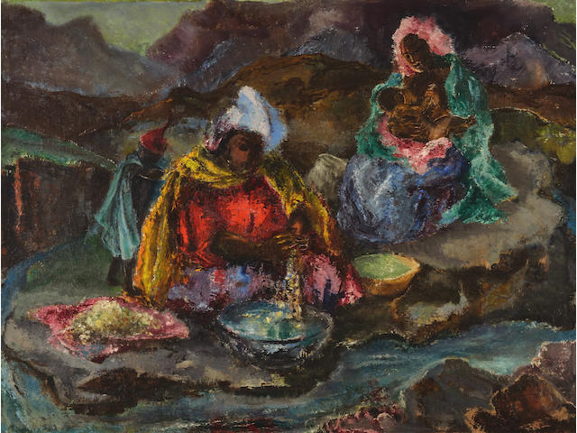 Cecil Higgs (South African, 1900-1986) Basuto washer women