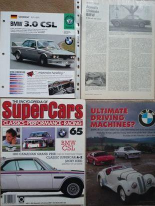 Four articles relating to BMW 3.0 CSL cars,