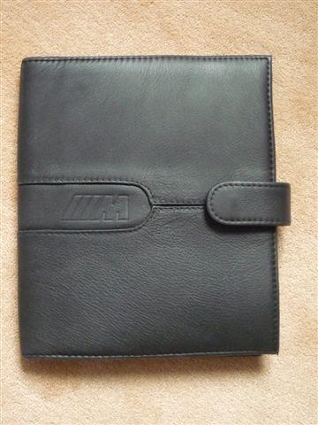 An original factory BMW M3 leather document pouch,