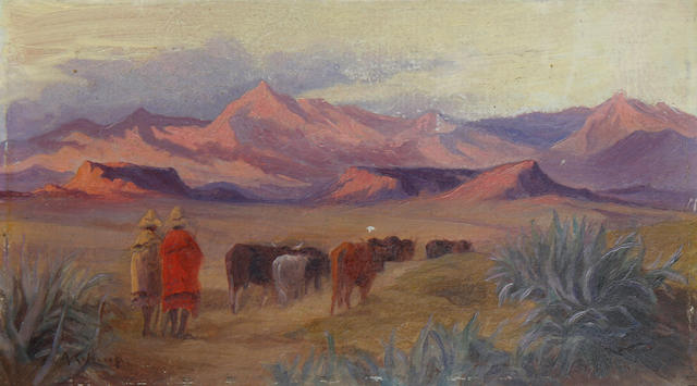 Allerley Glossop (South African, 1870-1955) Eventide in Basutoland