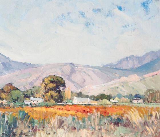 Piet (Pieter Gerhardus) van Heerden (South African, 1917-1991) Landscape 29 x 24cm