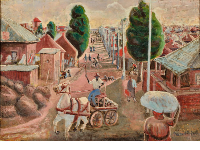 Gerard Sekoto (South African, 1913-1993) 'Horse and Cart, Sophiatown'