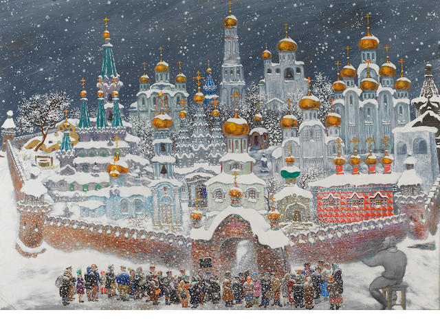 Attributed to Vasily Sitnikov (Russian, 1915-1987) The Kremlin in the snow 28 x 39 3/4in