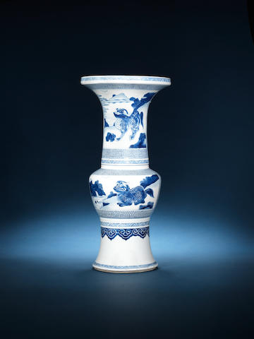 A fine blue and white tall slender baluster vase Kangxi