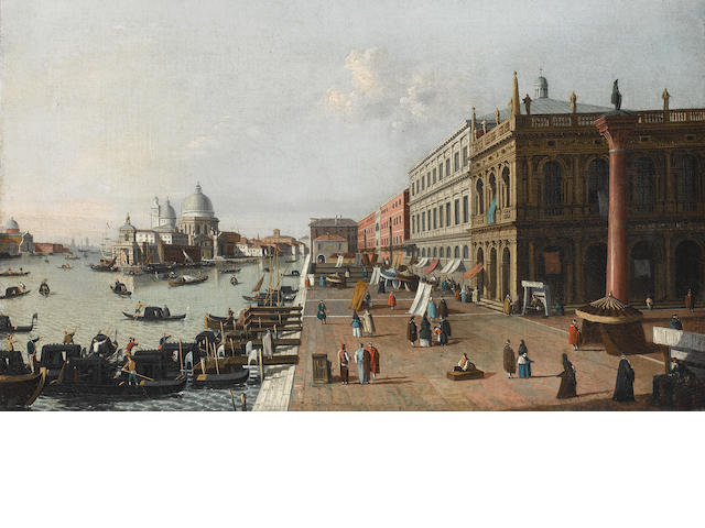 Follower of Antonio Canal, called il Canaletto (Venice 1697-1768) The Molo looking west towards Punta della Dogana