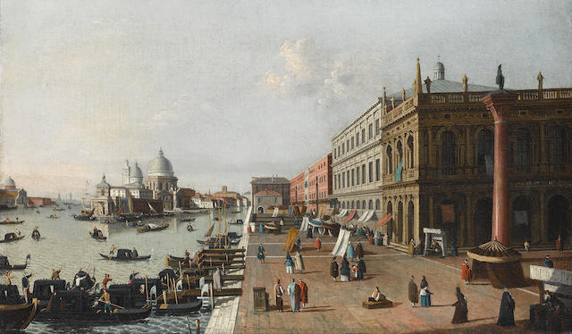 Follower of Antonio Canal, called il Canaletto (Venice 1697-1768) The Molo, Venice, looking west towards the Punta della Dogana