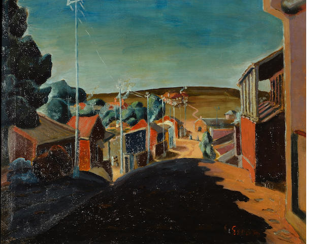 Gerard Sekoto (South African, 1913-1993) 'Looking down the hill, Sophiatown'