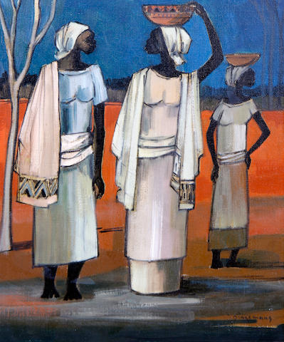 Johannes Wilhelmus (Jan) Dingemans (South African, 1921-2001) Three African women