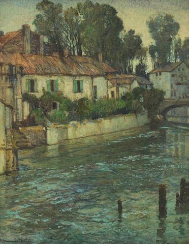 Samuel John Lamorna Birch R.A., R.W.S., R.W.A. (British, 1869-1955) Riverside houses 59.5 x 49 cm. (23 7/16 x 19 5/16 in.)