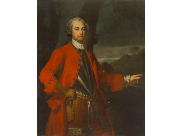 Circle of Allan Ramsay (Edinburgh 1713-1784 Dover) Portrait of an officer, possibly Major William Caulfeild (circa 1698-1767), three-quarter-length, wearing a red overcoat, a cuirasse and a small sword,