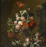 Manner of Simon Pietersz. Verelst Roses, lilies, irises and other flowers in an urn on a table ledge with grapes and butterflies; and   (2)