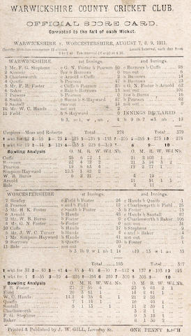 Warwickshire scorecards 1896 and 1911.
