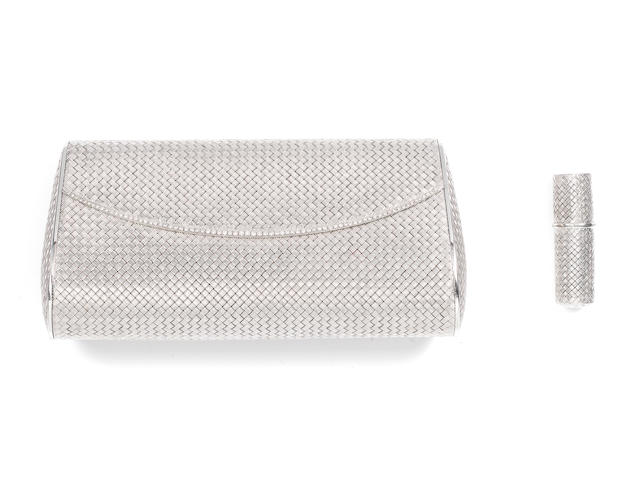 A diamond-set evening bag and lipstick holder