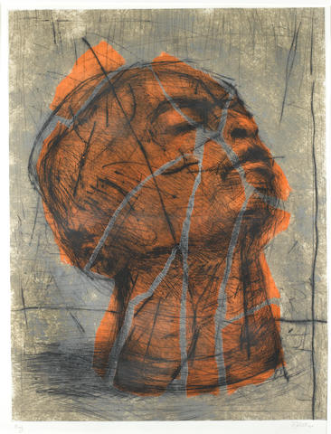 William Joseph Kentridge (South African, born 1955), 1993 Orange head 103 x 79cm (40 9/16 x 31 1/8in).(image size)