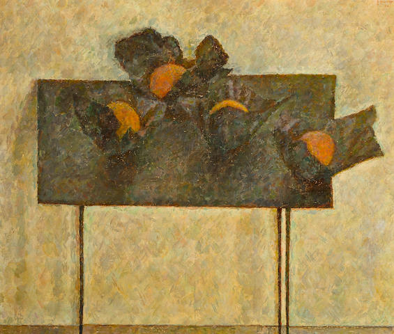 Vladimir Weisberg (Russian, 1924-1985), 1961 Still life with oranges on black table