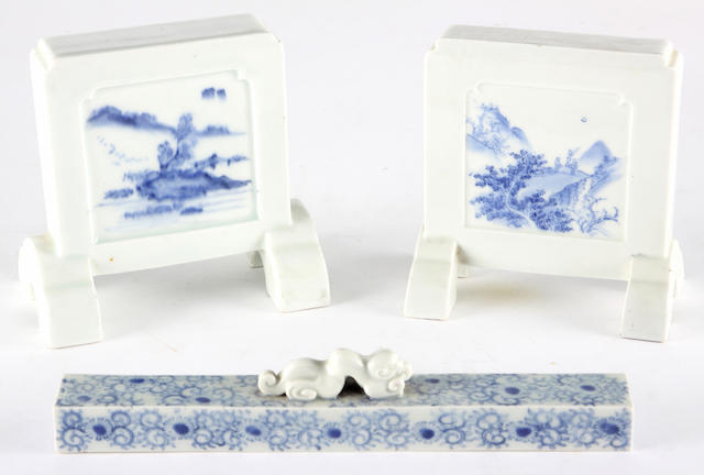 Two blue and white porcelain table/room screens