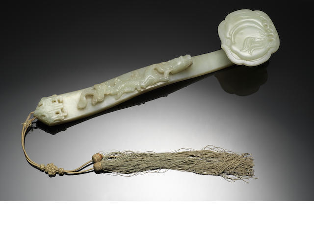 A pale green jade ruyi sceptre 18th century