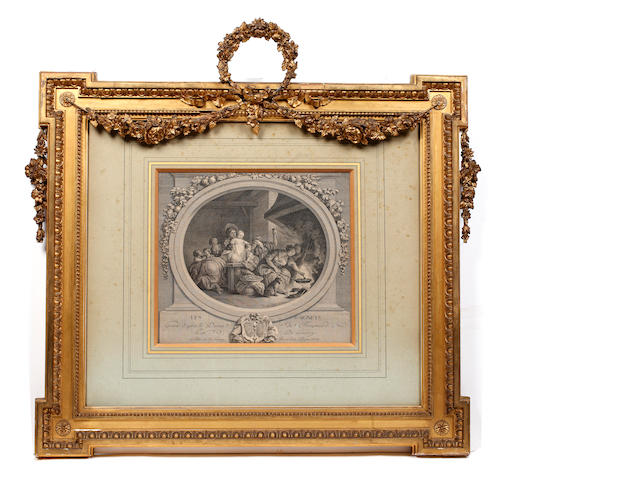 After Antoine-Jean Duclos Le Concert, a Madame La Contesse de Saint Brisson,  black and white engraving, 28 x 39cm, and companion, a pair, also a further smaller pair of engravings, 26.5 x 30cm, each in moulded giltwood and gesso frames with egg and tongue and beaded borders and surmounted by ribbon tied floral wreaths, swags and pendants. (4)