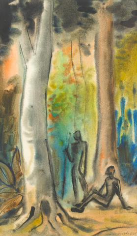 Maurice Charles Louis van Essche (South African, 1906-1977) Figures in a forest