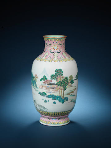 A rare famille rose lantern vase Qianlong seal mark and of the period