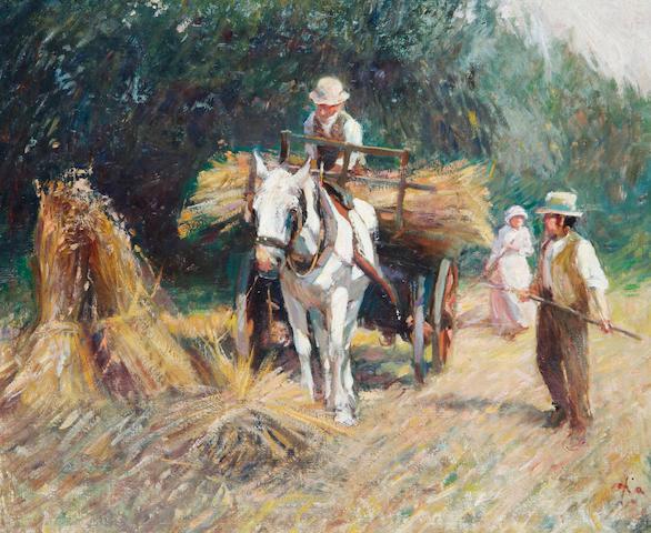 Harry Fidler (British, 1856-1935) Bringing in the hay