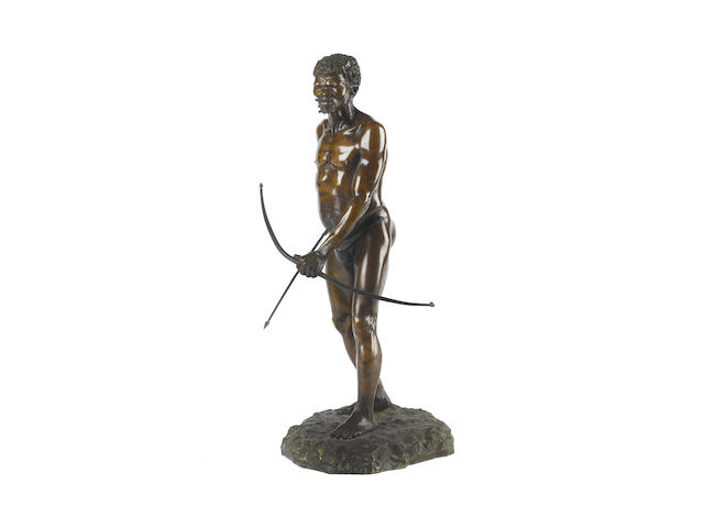 Anton van Wouw (South African, 1862-1945) 'The bushman hunter' 49cm (19 5/16in) high (including base)