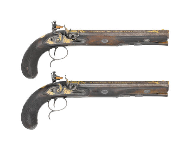 A Fine And Exceptionally Rare Cased Pair Of Gold-Inlaid 40-Bore Flintlock Duelling Pistols Made For Lieutenant-Colonel Thomas Thornton