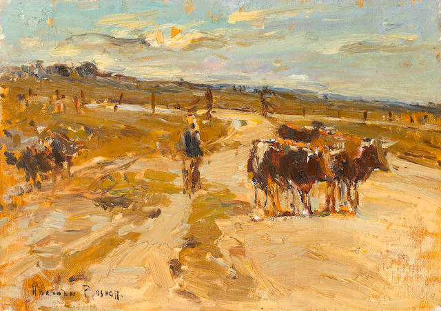 Adriaan Hendrik Boshoff (South African, 1935-2007) A drover and cattle
